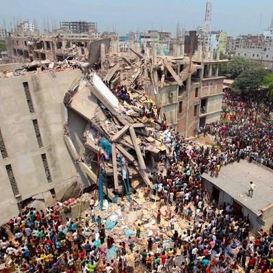 Building housing four garments factories collapses in Savar, Bangaldesh.
