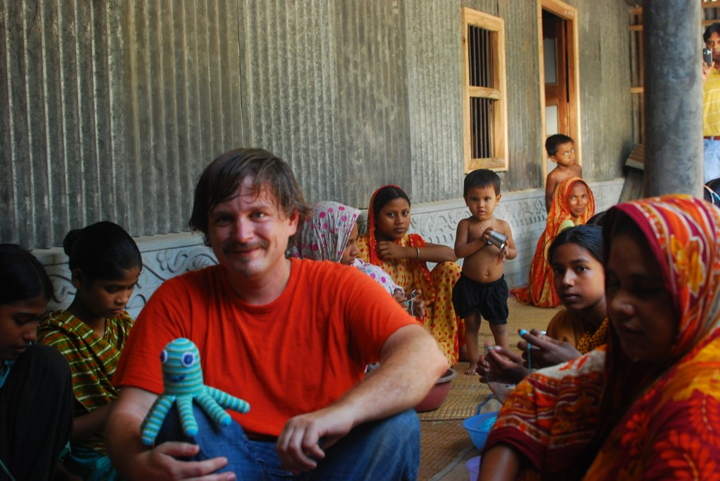 Austin visits some of the young women in rural Bangladesh who create the Pebble product line.