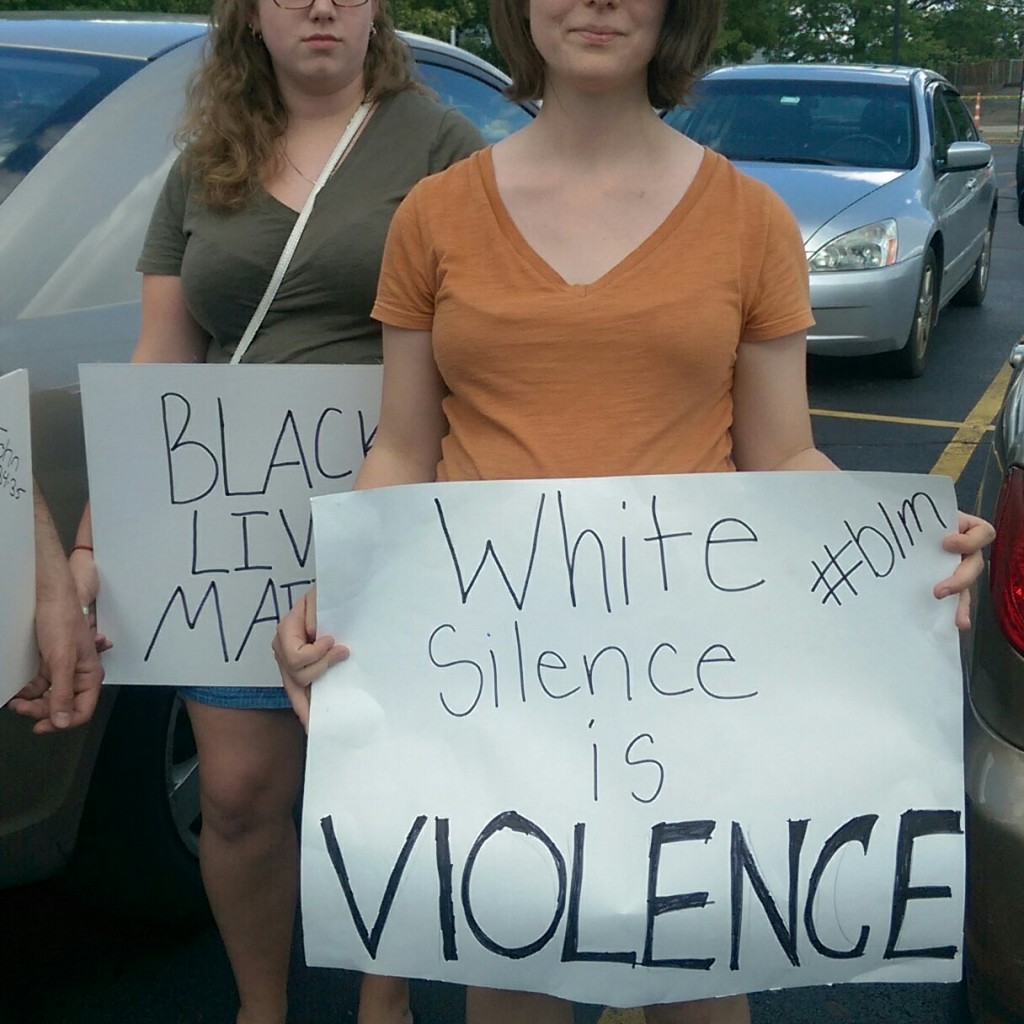 White demonstrator at a Canton, Ohio Black Lives Matter Protest
