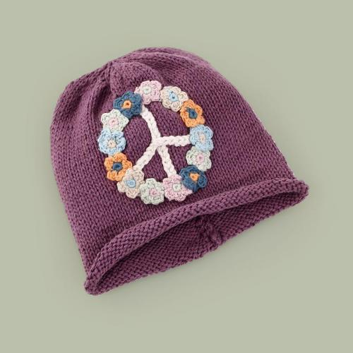 Organic Peace Hat - Purple