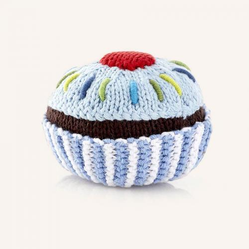 Cupcake Rattle Pale Blue Icing